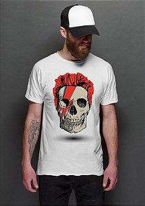 Camiseta Masculina  David Bowie Skull - Nerd e Geek - Presentes Criativos
