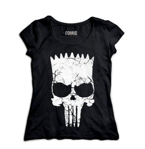 Camiseta Feminina Simpson Punisher - Nerd e Geek - Presentes Criativos
