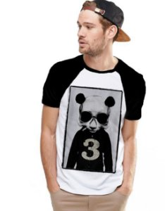Camiseta Raglan King33 Urso - Nerd e Geek - Presentes Criativos