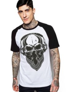 Camiseta Raglan King33 Skull Music - Nerd e Geek - Presentes Criativos