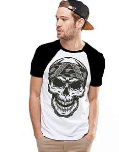 Camiseta Raglan King33 Caveira - Nerd e Geek - Presentes Criativos