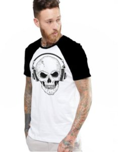 Camiseta Raglan King33 Skull Face Music - Nerd e Geek - Presentes Criativos