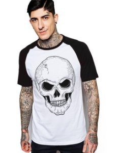 Camiseta Raglan King33 Skull Face Bad - Nerd e Geek - Presentes Criativos
