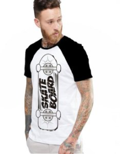 Camiseta Raglan King33 Skate Board - Nerd e Geek - Presentes Criativos