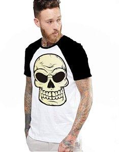 Camiseta Raglan King33 Skull Evil - Nerd e Geek - Presentes Criativos