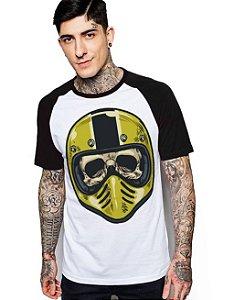 Camiseta Raglan King33 Skull Helmet - Nerd e Geek - Presentes Criativos