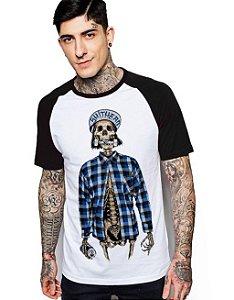 Camiseta Raglan King33 Skull Skate - Nerd e Geek - Presentes Criativos