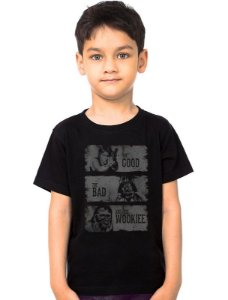 Camiseta Infantil Star Wars The Good The Bad and The Wookiee