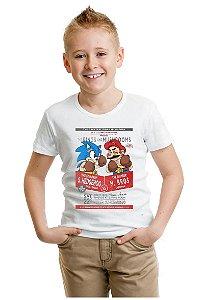 Camiseta Infantil Sonic Hedghog vs Mario Bros - Nerd e Geek - Presentes Criativos
