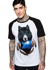 Camiseta Raglan King33 Wolf and Moon