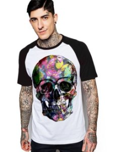 Camiseta Raglan King33 Skull Face Roses - Nerd e Geek - Presentes Criativos