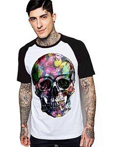 Camiseta Raglan King33 Skull Face Roses