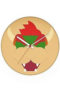 Relógio de Parede Bowser Face - Nerd e Geek - Presentes Criativos