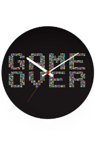 Relógio de Parede Game Over - Nerd e Geek - Presentes Criativos