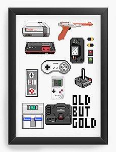 Quadro Decorativo Old But Gold - Nerd e Geek - Presentes Criativos