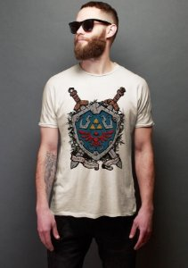 Camiseta Masculina  Escudo Link - Nerd e Geek - Presentes Criativos