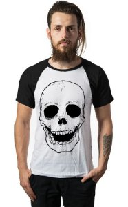 Camiseta Raglan Skull Happy - Nerd e Geek - Presentes Criativos