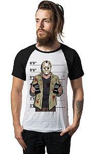 Camiseta Raglan  Jason Suspect - Nerd e Geek - Presentes Criativos