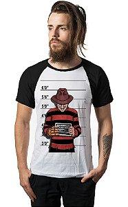 Camiseta Raglan Freddy Krueger Usual Suspect - Nerd e Geek - Presentes Criativos