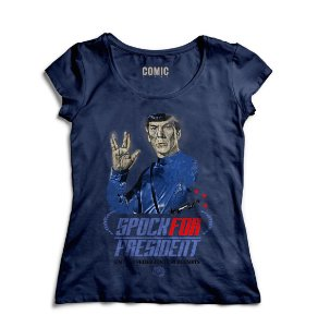 Camiseta Feminina Spok for President Star Trek - Nerd e Geek - Presentes Criativos
