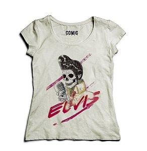 Camiseta Feminina Elvis Skull - Nerd e Geek - Presentes Criativos