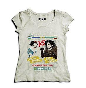 Camiseta Feminina Branca de Neve VS Jon Snow