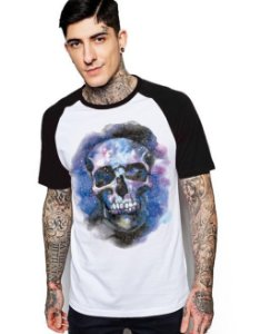 Camiseta Raglan King33 Skull Face Color - Nerd e Geek - Presentes Criativos