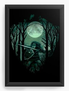 Quadro Decorativo A4 (33X24) Zelda Florest - Nerd e Geek - Presentes Criativos