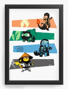 Quadro Decorativo A4 (33X24) Pokemon Kombat - Nerd e Geek - Presentes Criativos