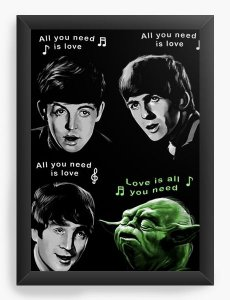 Quadro Decorativo The Beatles e Yoda