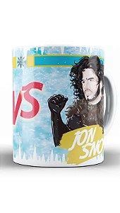 Caneca Jon Snow VS Branca de Neve