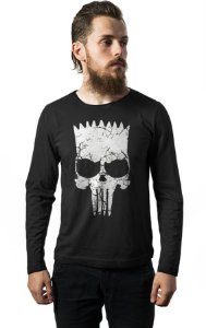 Camiseta Masculina  Manga Longa Simpson Punisher - Nerd e Geek - Presentes Criativos