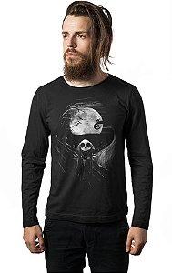 Camiseta Masculina  Manga Longa Jack Skellington - Nerd e Geek - Presentes Criativos