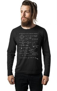 Camiseta Masculina  Manga Longa Formula Gravitacional - Nerd e Geek - Presentes Criativos