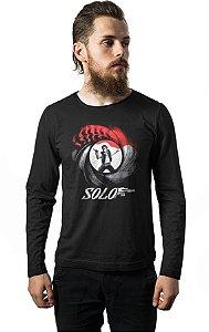 Camiseta Masculina  Manga Longa Han Solo 007 - Nerd e Geek - Presentes Criativos