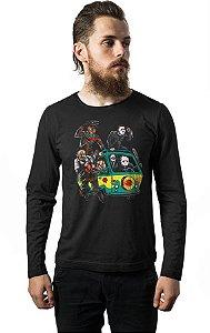 Camiseta Masculina  Manga Longa Jason e Killers - Nerd e Geek - Presentes Criativos