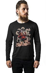 Camiseta Masculina  Manga Longa Skull Freddy - Nerd e Geek - Presentes Criativos