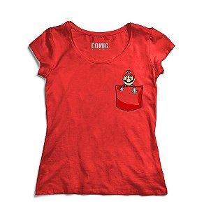 Camiseta Feminina Super Mario Bolso - Nerd e Geek - Presentes Criativos