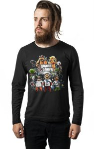 Camiseta Masculina  Manga Longa GTA Mario - Nerd e Geek - Presentes Criativos