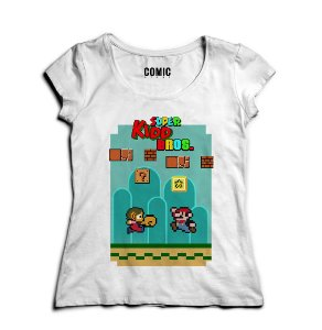 Camiseta Feminina Super Kidd Bros - Nerd e Geek - Presentes Criativos