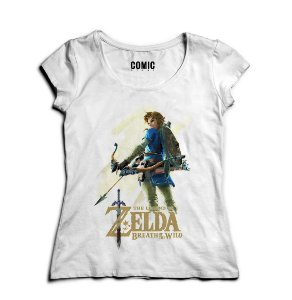 Camiseta Feminina Legend f Zelda Breath of The Wild - Nerd e Geek - Presentes Criativos