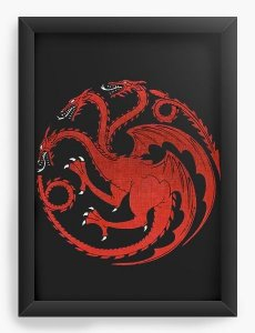 Quadro Decorativo Game of Thrones - Dragão - Nerd e Geek - Presentes Criativos