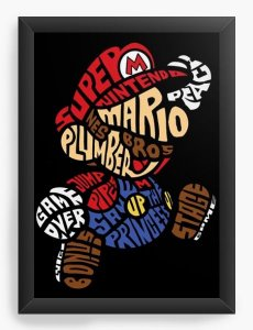 Quadro Decorativo A4 (33X24) Super Mario - Nerd e Geek - Presentes Criativos