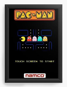 Quadro Decorativo A4 (33X24) Pac-Man - Nerd e Geek - Presentes Criativos