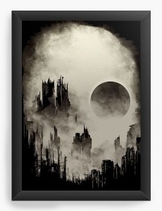 Quadro Decorativo A4 (33X24) Skull City - Nerd e Geek - Presentes Criativos