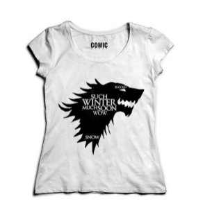 Camiseta Feminina Game of Thrones Winter - Nerd e Geek - Presentes Criativos