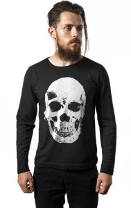 Camiseta Masculina  Manga Longa Caveira - Nerd e Geek - Presentes Criativos