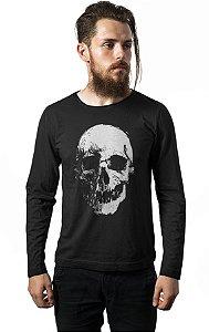 Camiseta Masculina  Manga Longa Caveira Dark - Nerd e Geek - Presentes Criativos