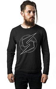 Camiseta Masculina  Manga Longa Samus Aran - Nerd e Geek - Presentes Criativos