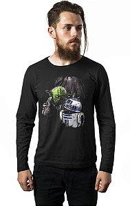 Camiseta Manga Longa Star Wars - Yoda e R2-D2